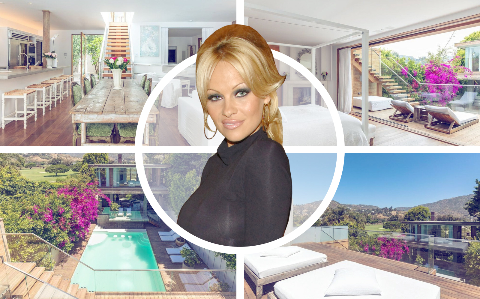 Pamela Anderson and her house on Malibu Colony Road. (Coldwell Banker Realty, Getty)