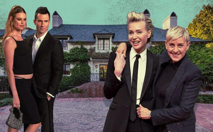 825 Loma Vista Drive and (from left) Behati Prinsloo and Adam Levine with Portia de Rossi and Ellen DeGeneres (Getty, iStock)