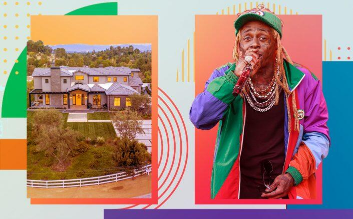 Lil Wayne and his Hidden Hills home (Getty, Redfin, iStock)