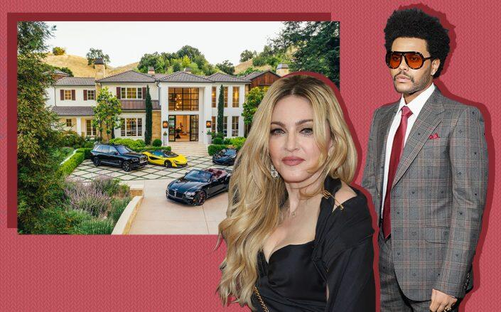 Madonna and The Weeknd with the Hidden Hills home (Getty, Redfin)