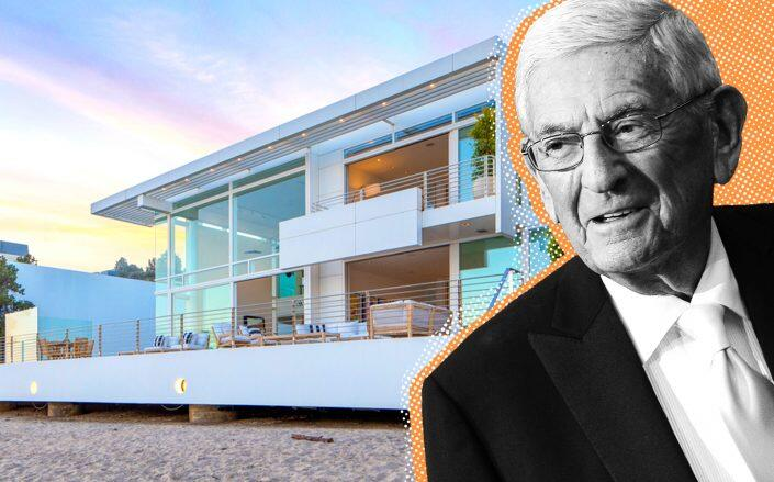 Eli Broad and his home at Carbon Beach (Getty, Redfin)