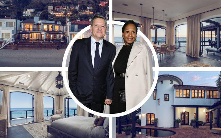 Netflix co-CEO Ted Sarandos and his wife Nicole Avant are selling their Malibu home that they purchased from David Spade. (Getty, Compass)