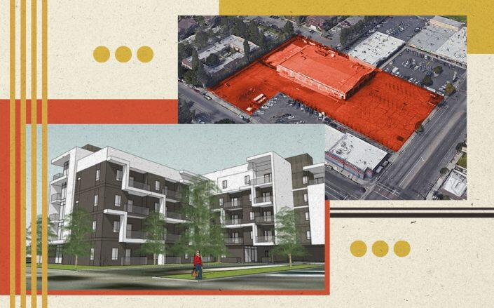 A rendering of the project and an aerial view of the development site (WPH Holdings, Google Maps)