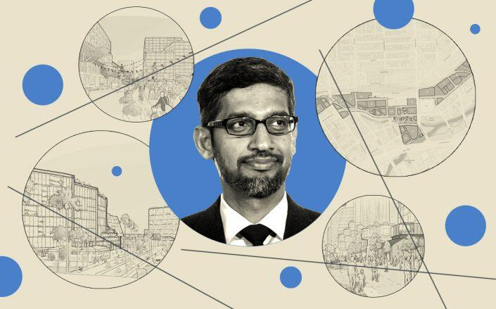 Google CEO Sundar Pichai and renderings of the project (Getty, Google)
