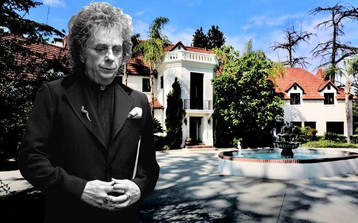 Phil Spector and 1700 Grand View Drive (Getty, Redfin)