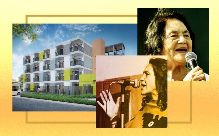 A rendering of Dolores Huerta Apartments in South Los Angeles with Dolores Huerta (Getty, SDS Capital Group's Supportive Housing Fund)