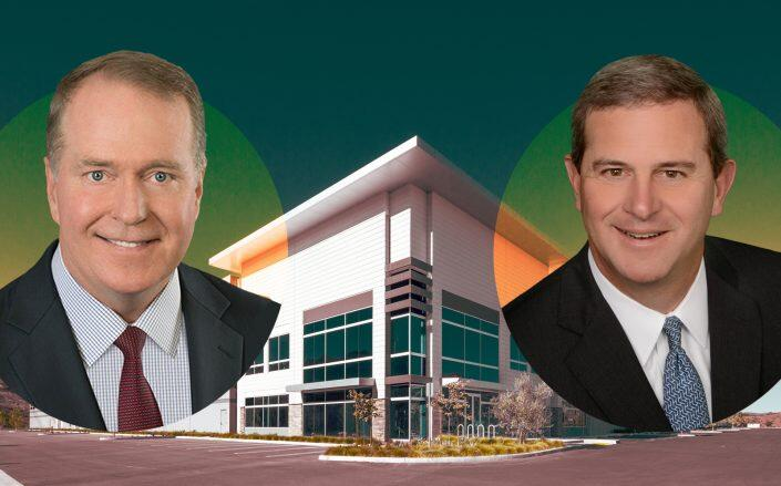 Clarion Partners CEO David Gilbert and Trammell Crow CEO Mike Lafitte. (The Center at Needham Ranch, Clarion Partners, Trammel Crow)