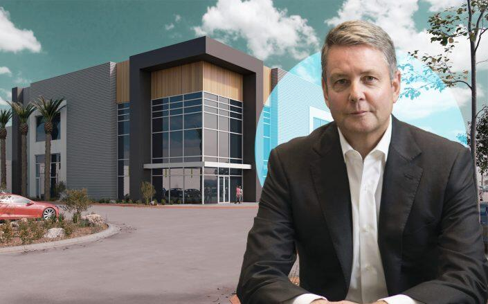 Goodman CEO Greg Goodman and a rendering of the facility. (Goodman)