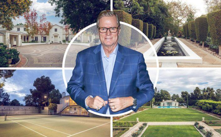 Rick Hilton and the Bel Air estate at 1060 Brooklawn Drive. (Getty, Hilton & Hyland)
