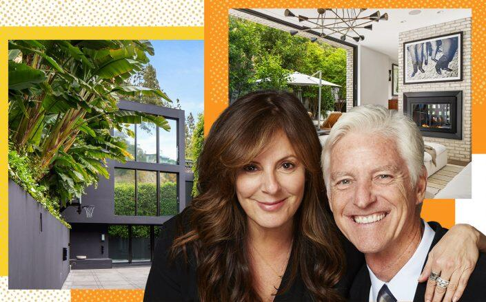 Victoria Jackson and Bill Guthy with the Sunset Strip home (Guthry Jackson Foundation, Westside Estate Agency)