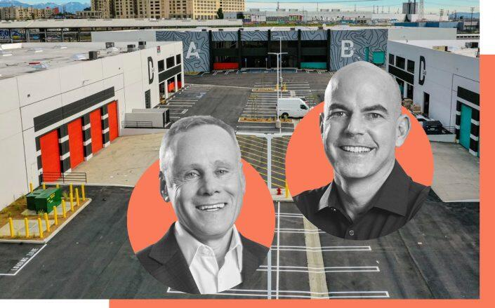 The Box Yard property and Rexford Industrial co-CEOs Howard Schwimmer and Michael Frankel (Box Yard LA. Rexford Industrial)