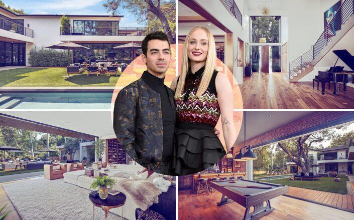 Joe Jonas and Sophie Turner with their Encino property (Getty, Compass)