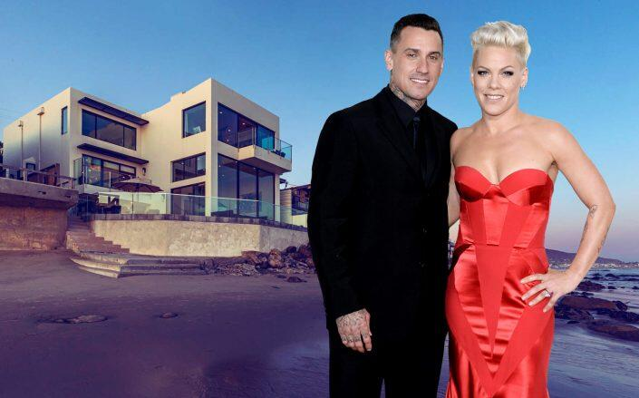 Pink and husband Carey Hart with their Malibu house (Getty, The Agency Real Estate)