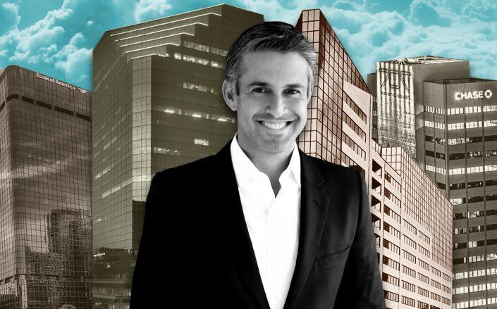 Regent Properties CEO Eric Fleiss with 701 B Street, 1 Columbia Place, 2 Columbia Place, and 707 Broadway (Regent Properties)