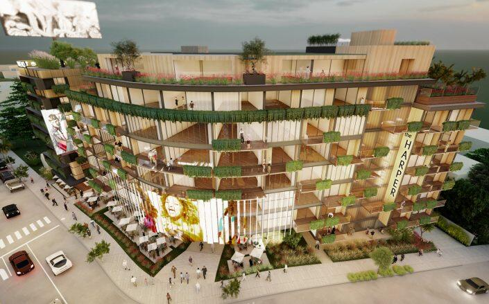 Renderings of the project (The Harper on Sunset)