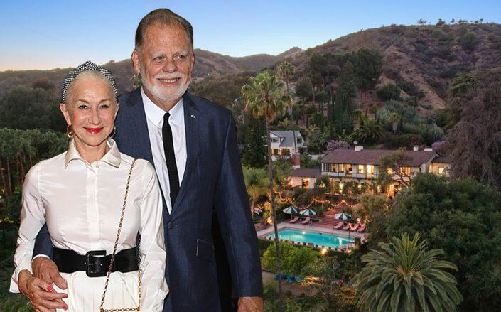 Helen Mirren and Taylor Hackford with their Hollywood home (Getty, Redfin)