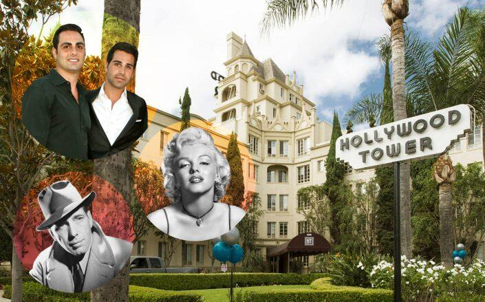 Steven and Alex Hakim, Marilyn Monroe and Humphrey Bogart with Hollywood Tower (Getty, Facebook via Hollywood Tower)