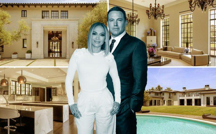 Jennifer Lopez and Ben Affleck with the Nile Niami mansion (Getty, Leverage Global Partners)