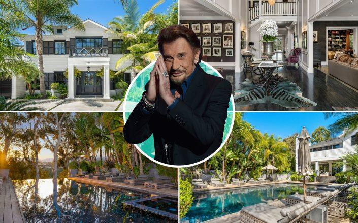 Johnny Hallyday and the Pacific Palisades property (Getty, Coldwell Banker Realty)