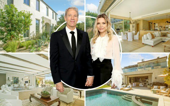 Michelle Pfeiffer and David Kelly with the Pacific Palisades property (Getty, Compass)