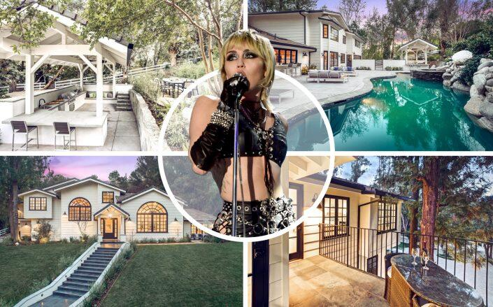 Miley Cyrus and the Hidden Hills property (Getty, Dana and Jeff Luxury Groups)