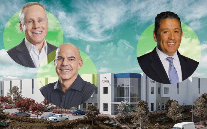Rexford Industrial Co-CEOs Howard Schwimmer and Michael S. Frankel and Lief Labs CEO Adel Villalobos with a rendering of the project (Rexford, Lief Labs)