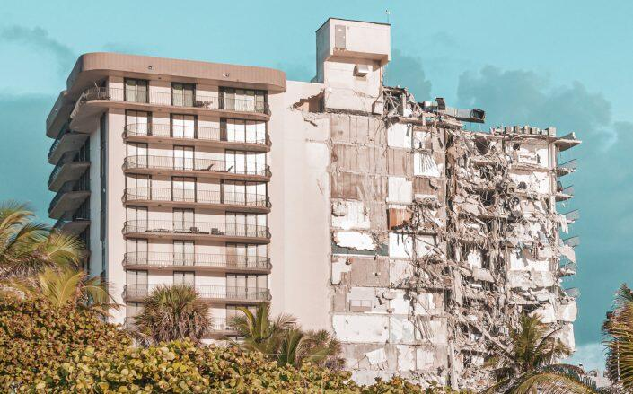 The partial collapse of the Surfside condo (Getty)