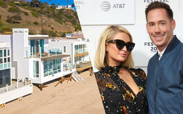 The home on La Costa Beach and Paris Hilton and Carter Reum (Redfin, Getty)
