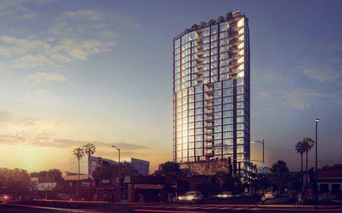 Rendering of tower at 1717 Bronson Ave., which DM Development and Alex Massachi are proposing.