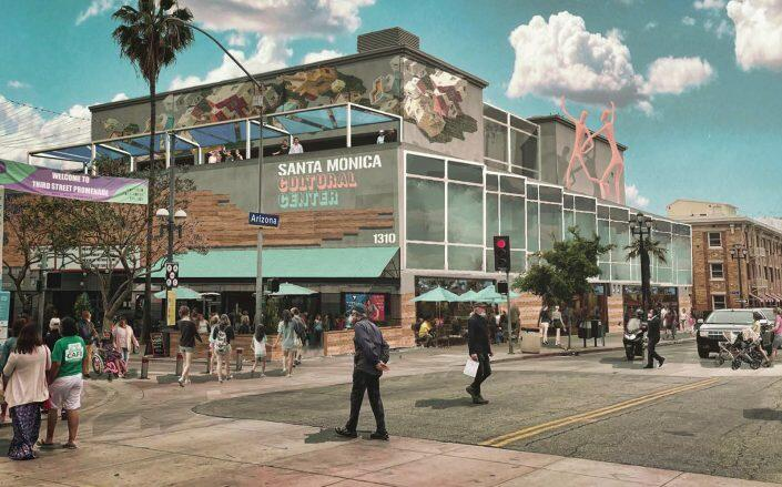 Renderings of Third and Arizona Town Square after the proposed Third Street Promenade Stabilization and Economic Vitality Plan  (Downtown Santa Monica)