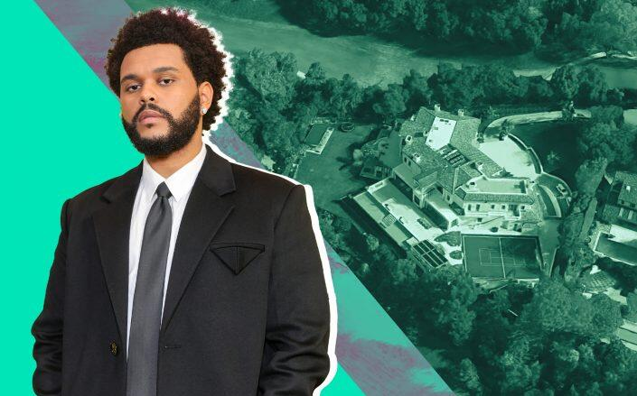 The Weeknd and the 33,000-square-foot Bel Air mansion (Getty, Google Maps)