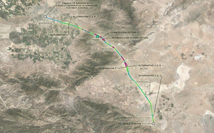 Map of the rail that would run from Bakersfield to Palmdale (Google Maps, California High Speed Rail Authority)