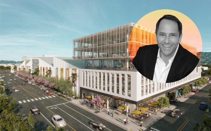 Bardas Investment Group founder David Simon and project renderings of Echelon Studios (Bardas)
