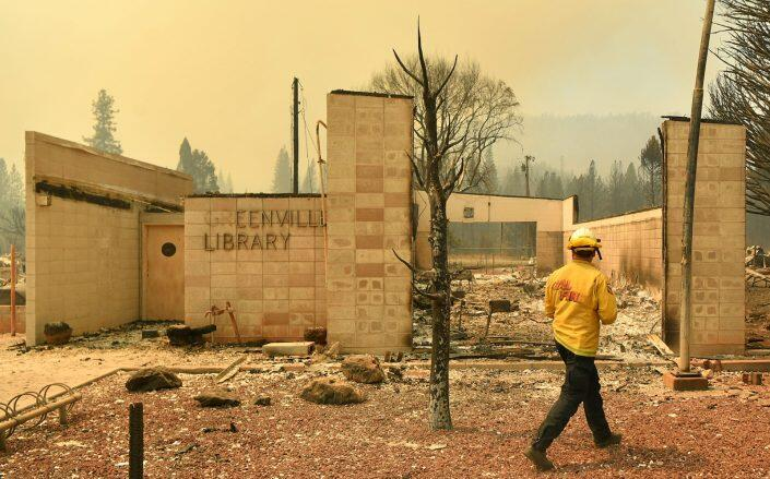 The destroyed Greenville Library (Getty)