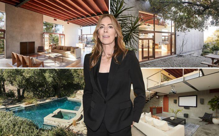 Filmmaker Kathryn Bigelow and the modern Coldwater Canyon home (Compass, Getty)