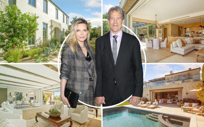 Michelle Pfeiffer and David Kelley with the Pacific Palisades property (Getty, Compass)