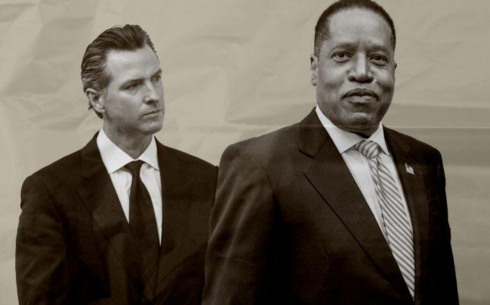 Real estate developers, investors and brokers have contributed $513,000 to Larry Elder's campaign to unseat Governor Gavin Newsom (Getty)