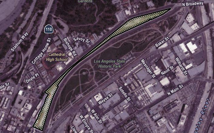 The location of the project along Los Angeles State Historic Park (Los Angeles City Planning)