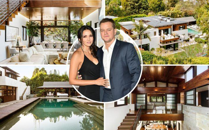 Luciana Barroso and Matt Damon with the seven bedroom house (The Agency Real Estate, Getty)