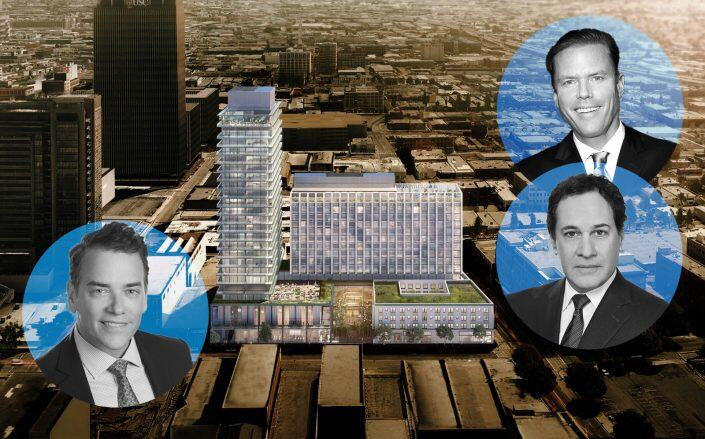 Douglas Elliman CEO Scott Durkin and Relevant Co-Founder Grant King and CFO Andrew Shayne with an aerial view of the project (Elliman, Relevant)