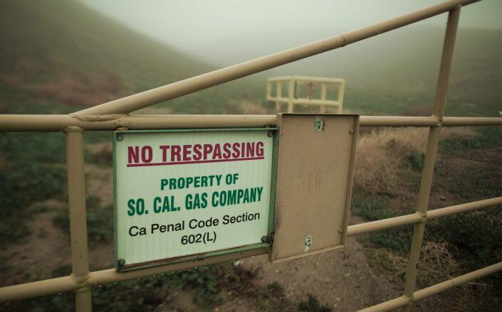 The boundary of Southern California Gas Company property, where Aliso Canyon Storage Field is located (Getty)