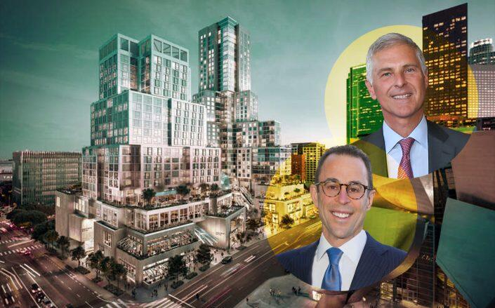 Hilton President and CEO Christopher J. Nassetta, Related Companies CEO Jeff T. Blau and a rendering of the project (Related, Getty)