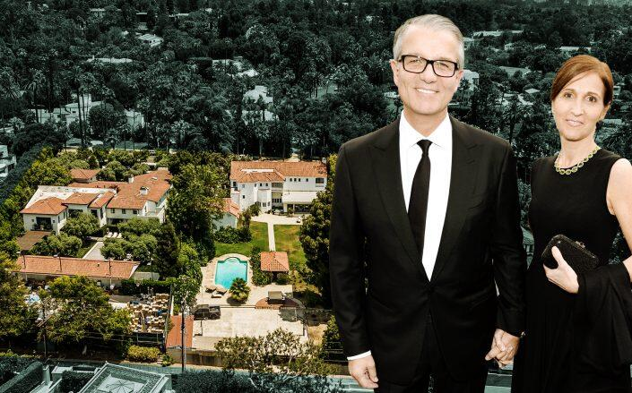 Guess CEO Carlos Alberini and Andrea with the two houses (Getty, Hilton & Hyland)