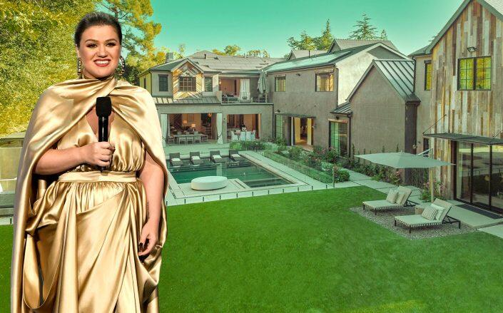 Kelly Clarkson and the Encino property (Getty, Compass)