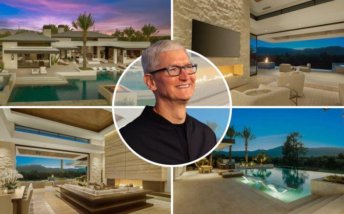 Tim Cook and the La Quinta house (Getty, Realtor.com / Hideaway Properties Corp.)