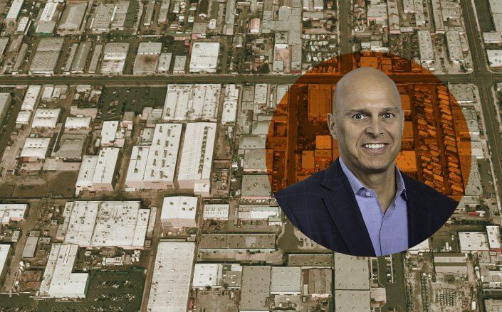 Overton Moore Properties CEO Timur Tecimer with an aerial of the property (Google Maps, OMP)