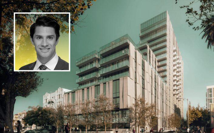 Bow West Capital founder Sean Beddoe and renderings of the project (HKS)