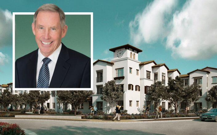 Kennedy Wilson CEO William McMorrow and the Camarillo development rendering (Kennedy Wilson)