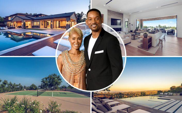 Will Smith and Jada Pinkett Smith  with the house (Getty, Berkshire Hathaway HomeServices California Properties)