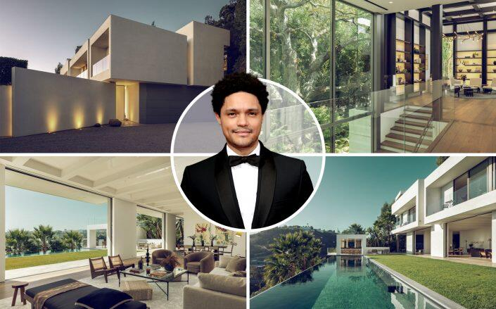 Trevor Noah and the Bel Air house (Redfin, Getty)